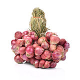 Bunch of small thai red onions  white background Royalty Free Stock Photo