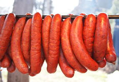 Bunch of smoked pork sausages Royalty Free Stock Photography
