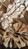 Bunch of soft wood for decoration interior in carpenter shop Stock Image