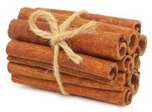 Bunch of some fresh aromatic cinnamon. Over white background Stock Photography