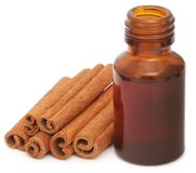 Bunch of some fresh aromatic cinnamon with essential oil. In a bottle Royalty Free Stock Photography