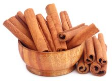 Bunch of some fresh aromatic cinnamon. Over white background Royalty Free Stock Photography