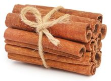 Bunch of some fresh aromatic cinnamon. Over white background stock image