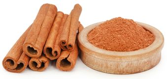 Cinnamon with powder spice. Bunch of some fresh aromatic cinnamon with powder spice Stock Images