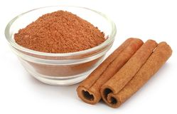 Cinnamon with powder spice. Bunch of some fresh aromatic cinnamon with powder spice Stock Photography