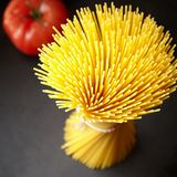 Bunch of spaghetti in close up view. Bunch of raw spaghetti in high angle close up view Royalty Free Stock Image