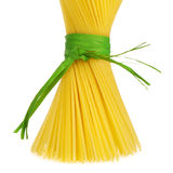 Bunch of spaghetti tied up with green ribbon Royalty Free Stock Image
