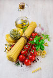 Bunch of spaghetti and vegetables Stock Photo