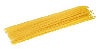 A bunch of spaghetti on a white isolated background. Close up. royalty free stock photography
