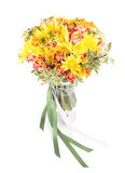 Bunch of spring flowers in a vase isolated on white Royalty Free Stock Image