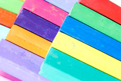 Bunch of square colorful pastel chalks closeup Royalty Free Stock Image