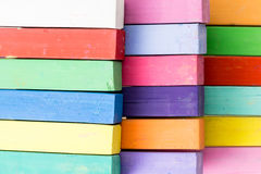 Bunch of square colorful pastel chalks closeup Stock Image