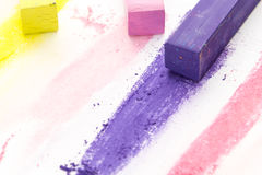 Bunch of square colorful pastel chalks and their pigments Royalty Free Stock Photography