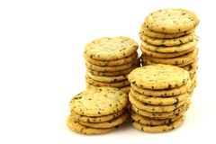 Bunch of stacked rosemary cookies Royalty Free Stock Image
