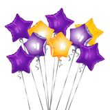 Bunch of star shape balloons vector illustration of glittering airballs. Bunch of star shape balloons vector illustration of glittering air balls of purple and Royalty Free Stock Photography