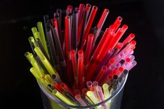 Bunch of straw were put in a glass cup Royalty Free Stock Image