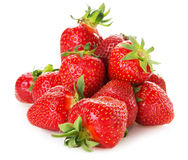 Bunch of strawberries isolated on the white background Stock Photos