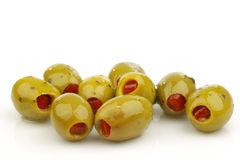 Bunch of stuffed green olives Royalty Free Stock Photography