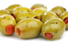 Bunch of stuffed green olives Royalty Free Stock Photos