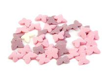 Bunch of sugar butterflies. Cake decoration Stock Photography