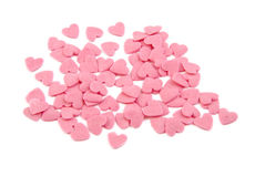 Bunch of sugar hearts. Cake decoration. Valentine Stock Photo