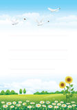 Bunch of sunflowers over blue background Royalty Free Stock Photo