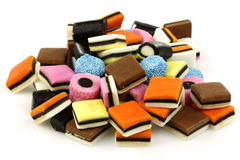 Bunch of sweet, tasty and colorful liquorice all s Stock Photography