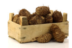 Bunch of taro root(colocasia) in a wooden crate Stock Image