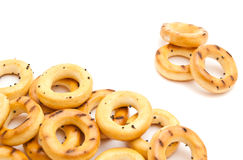 Bunch of tasty bagels on white Royalty Free Stock Photo