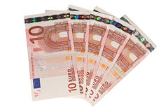 Bunch of ten euro bills. (isolated on white Royalty Free Stock Images