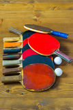 A bunch of tennis rackets for table tennis ball. Old racquet lying on the floor bunch Royalty Free Stock Image