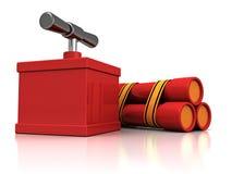 Bunch of three red dynamite sticks with detonator Royalty Free Stock Photo