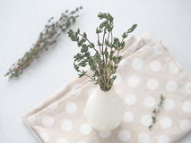 Bunch of thyme sprigs in small white vase over white wooden background. Selective focus on the sprigs Royalty Free Stock Photos