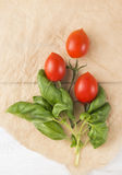 Bunch of  tomatoes and basil Stock Image