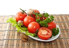 Bunch of tomatoes and lettuce Stock Photography