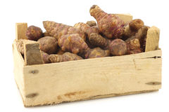 Bunch of topinambur roots (helianthus tuberosus) in a wooden crate Royalty Free Stock Images