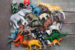 Bunch of toys on a table. Royalty Free Stock Images