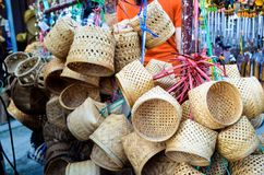 Bunch of traditional handmade woven baskets. royalty free stock image