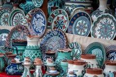 Traditional Horezu ceramics. A bunch of traditional Horezu ceramics from Romania royalty free stock photos