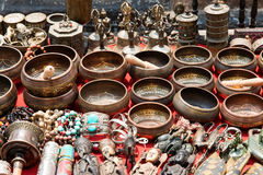 Bunch of traditional souvenirs (market in Nepal, Kathmandu) stock image