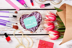Bunch of tulips and accessories. Stock Photography