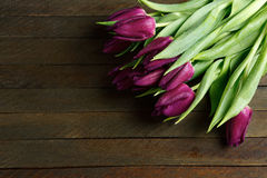 Bunch of tulips on the boards Royalty Free Stock Photography