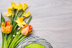 Bunch of tulips and daffodils on wood. Text space Royalty Free Stock Image