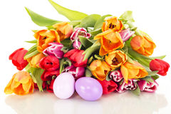Bunch of tulips with easter eggs Stock Image