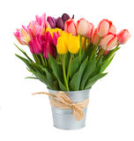 Bunch of tulips flowers  in metal pot Stock Photography