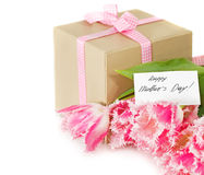 Bunch of tulips and gift box Stock Photography
