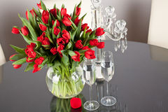 Bunch of tulips on a table Royalty Free Stock Photos