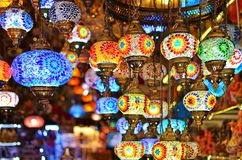 A bunch of turkish lamps at one of many Kemer gift shops. Stock Images