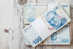 Bunch of Turkish Lira Royalty Free Stock Images