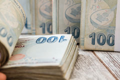 Bunch of Turkish Lira Royalty Free Stock Photos